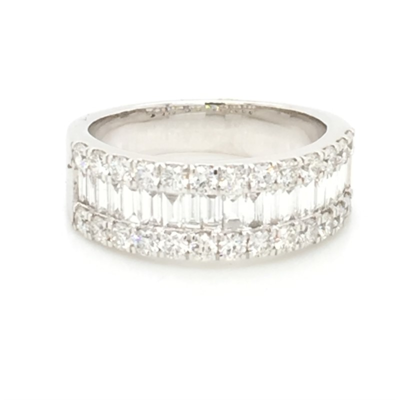 14K White Gold Wide Diamond Band With Center Baguettes And Round Brilliant Edges  1.62 Carats Total Weight