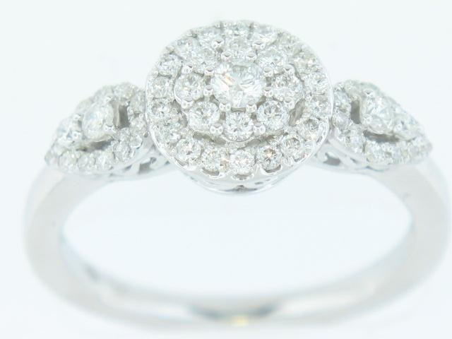 14K White Gold Diamond Cluster Ring 0.50 Carats Total Weight
