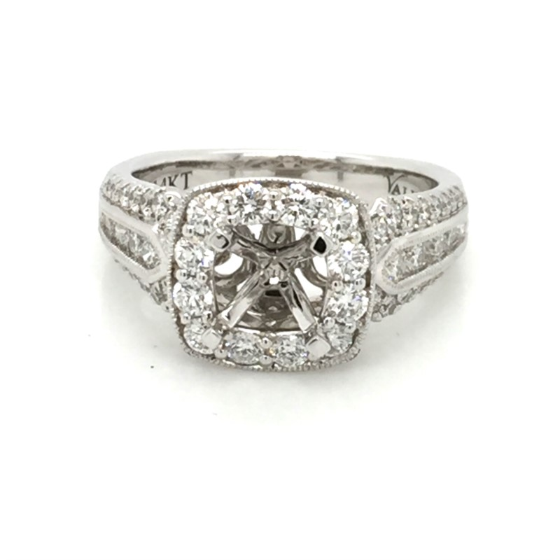14K White Gold Valina Diamond Semi Mount With 1.04 Carats Total Weight For 1.0 Round Brilliant Cut Center