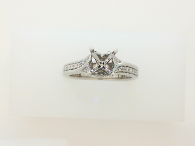 14K White Gold Valina Diamond Semi Mount With 0.18 Carats Total Weight