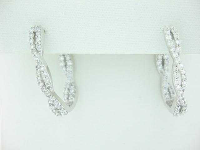 14K White Gold Inside/Out Diamond Loop Earrings 1.00 Carats Total Weight
