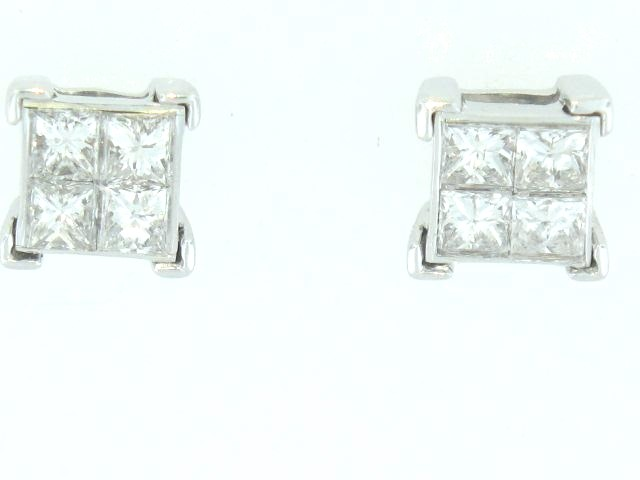 14K White Gold Embrace Princess Cut Diamond Stud Earrings With 0.50 Carats Total Weight