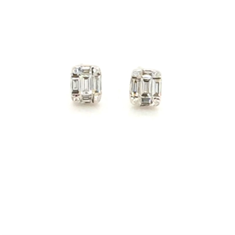 14K White Gold Diamond Earrings With 0.28 Carats Total Weight And Extra Heavy Nut Backs