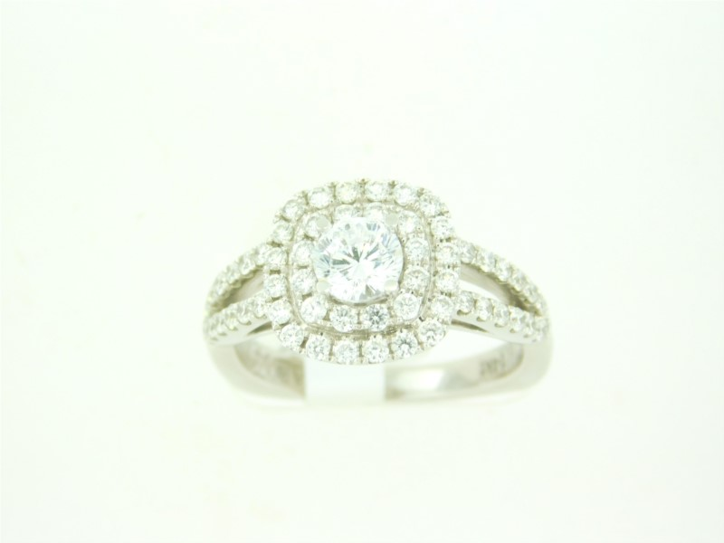"14K White Gold ""Caro74"" Diamond Mounting With 0.68 Carats Total Weight Diamonds.   Center Stone Pictured Not Included."