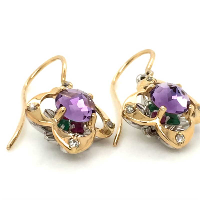 14K Yellow Gold Galatea Davinchi Cut Amethyst And Diamond Earrings 0.12 Carats Total Weight