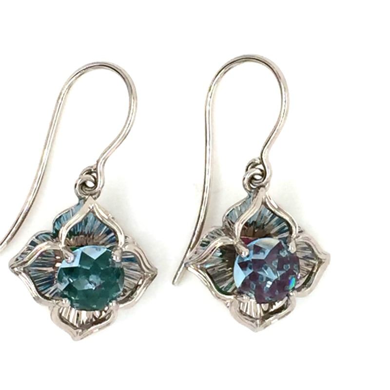 14K White Gold Galatea 6.5 Millimeter Blue Topaz Davinchi Cut Dangle Earrings