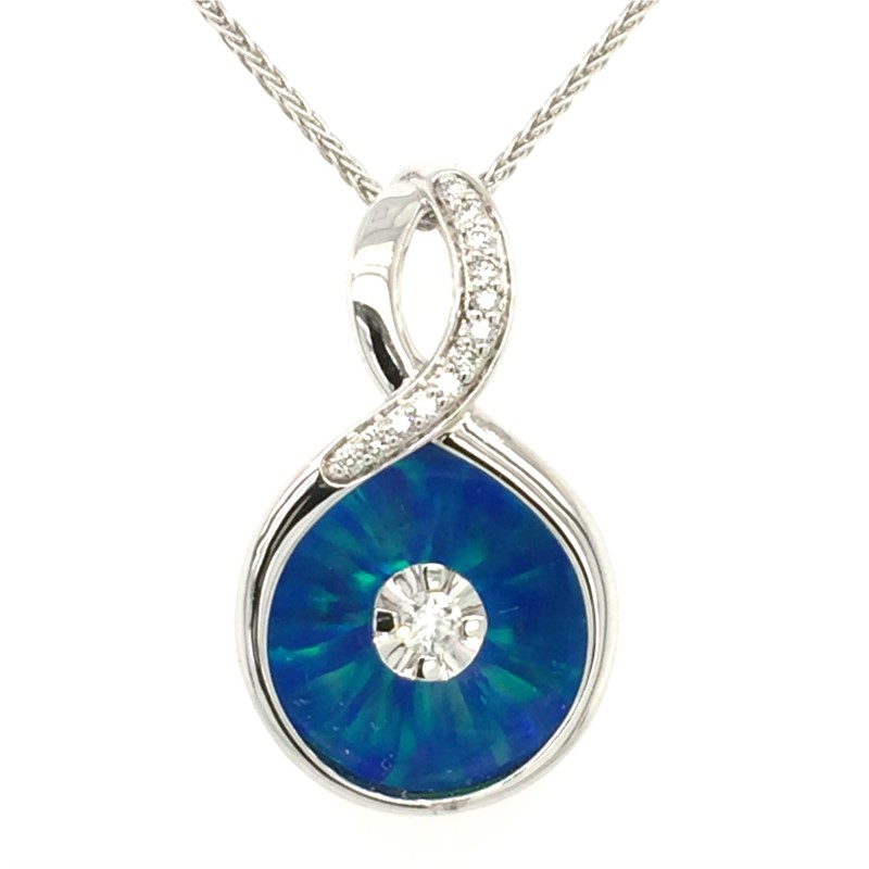 18 Inch 14K White Gold Galatea Blue Opal Diamond Bail With 0.08 Carats Total Weight Diamonds