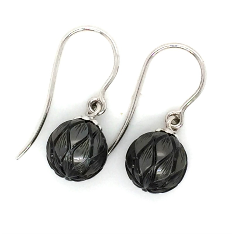 "Galatea 14K White Gold Hand Carved Tahitian Pearl Earrings 9.5 - 10.0 Millimeters ""Luck Daisy"""