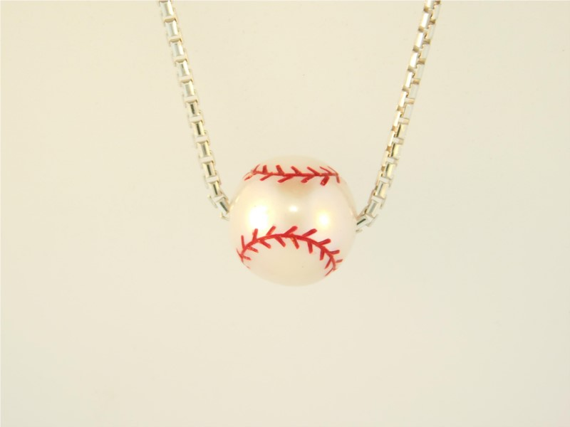 18 Inch Sterling Silver And Freshwater White Pearl Baseball Pendant