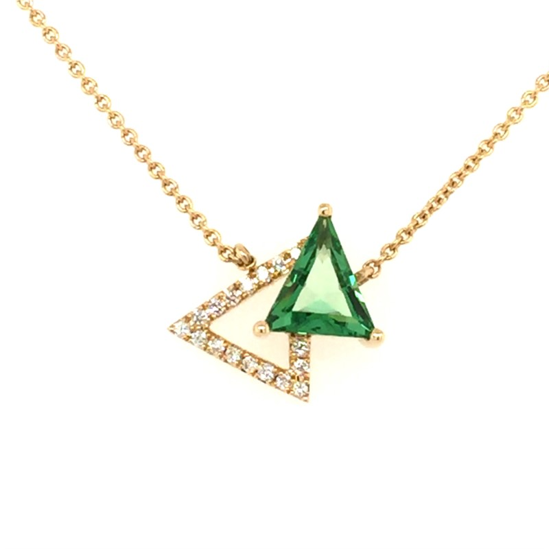 14K Yellow Gold Green Quarts And Diamond Pendant With 0.73 Carat Green Quarts And 0.08 Carats Total Weight Diamonds