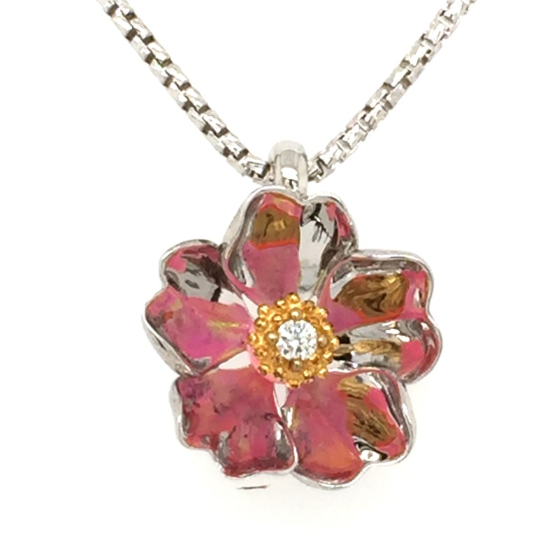 18 Inch Sterling Silver Galatea Cherry Blossom Flower Pendant With 14K Yellow Gold Diamond 0.03 Carats