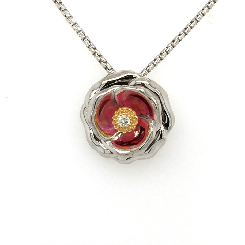 18 Inch Galatea Illusion Collection Sterling Silver And 14K Diamond Rose Pendant With 0.03 Carat.