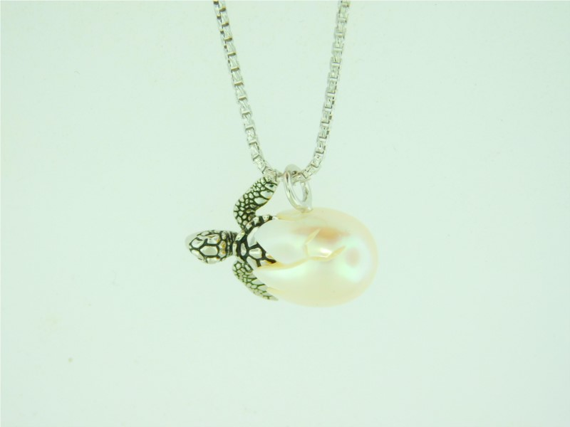 Galatea 18 Inch Sterling Silver Turtle in a 10.5 Millimeter Freshwater Pearl