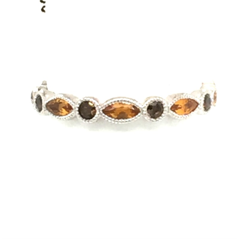 Sterling Silver Stackable Rings With Citrine And Smokie Quarts